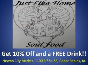 "Click on the picture above to go to :""JUST LIKE HOME SOUL FOOD"" Face Book page."